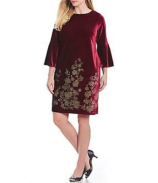 aae9eda84e Jessica Howard Plus Size Velvet Bell Sleeve Sheath Dress