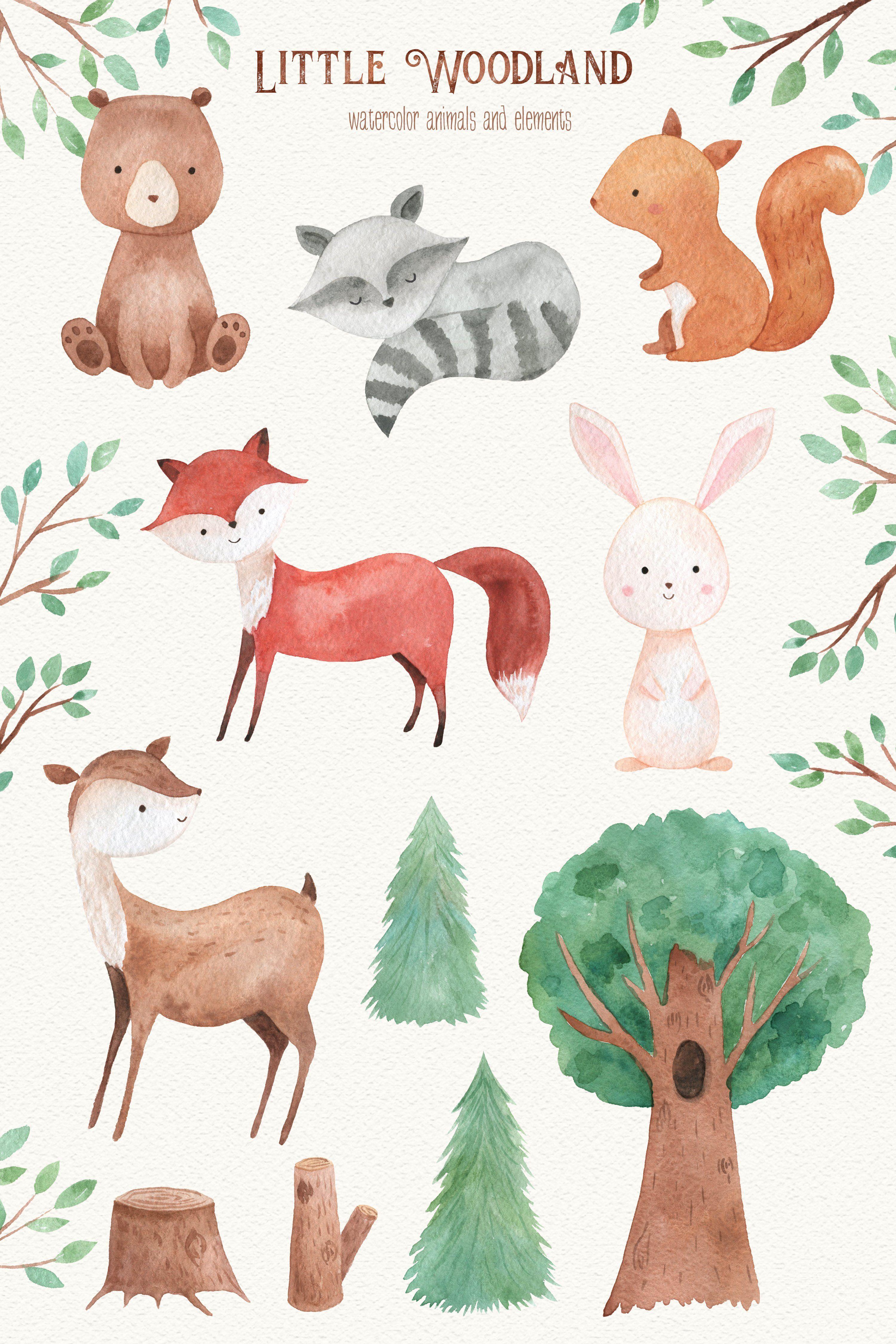 Woodland Animals Watercolor Clipart Watercolor Animals Animal Clipart Cute Animal Illustration