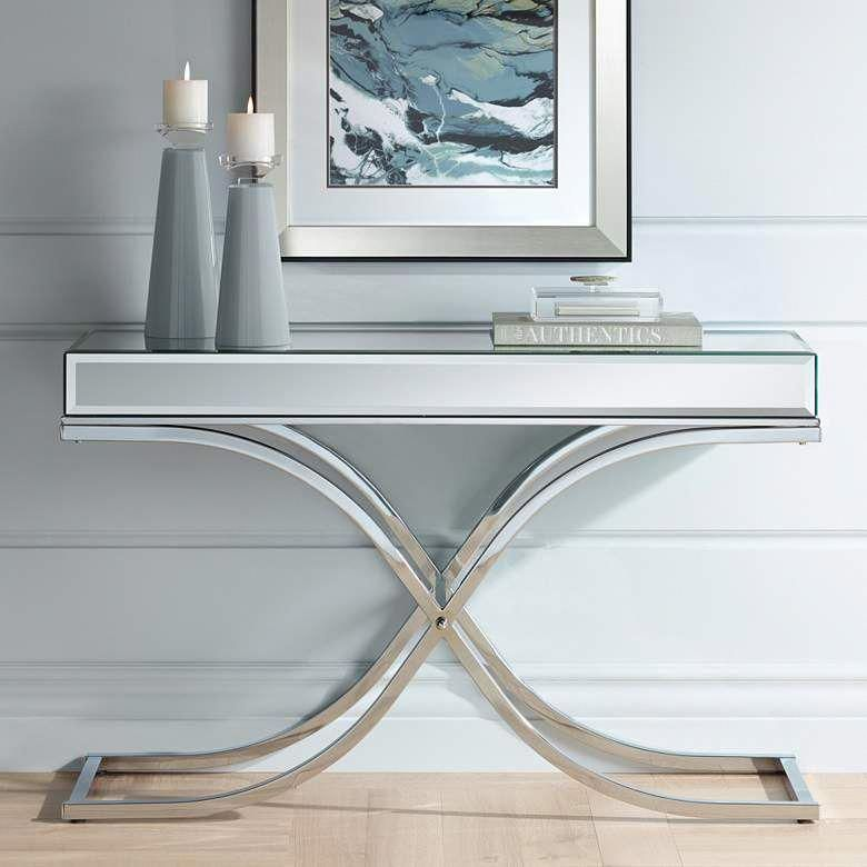 Desiree 48 Wide Silver Mirror Top And Chrome Console Table 46y80 Lamps Plus Modernhomedesigns Console Table Mirror Tops Mirrored Console Table