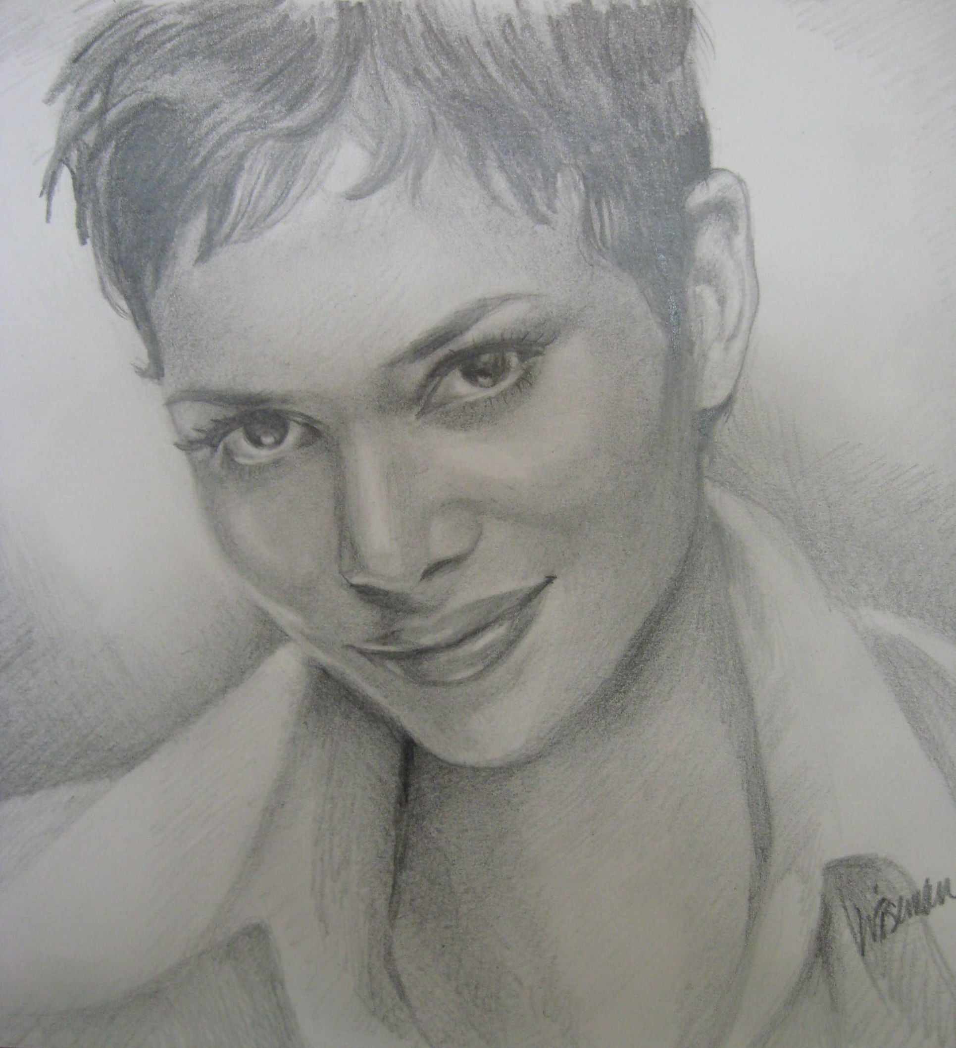 Halle Berry pencil sketch  by Deanna Wiseman