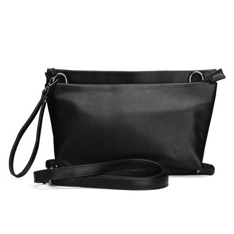 Women Pure Color PU Leather Clutch Bag