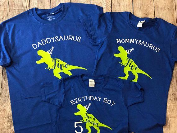 Dinosaur Birthday Shirtfamily Shirts Five Year Old Matching