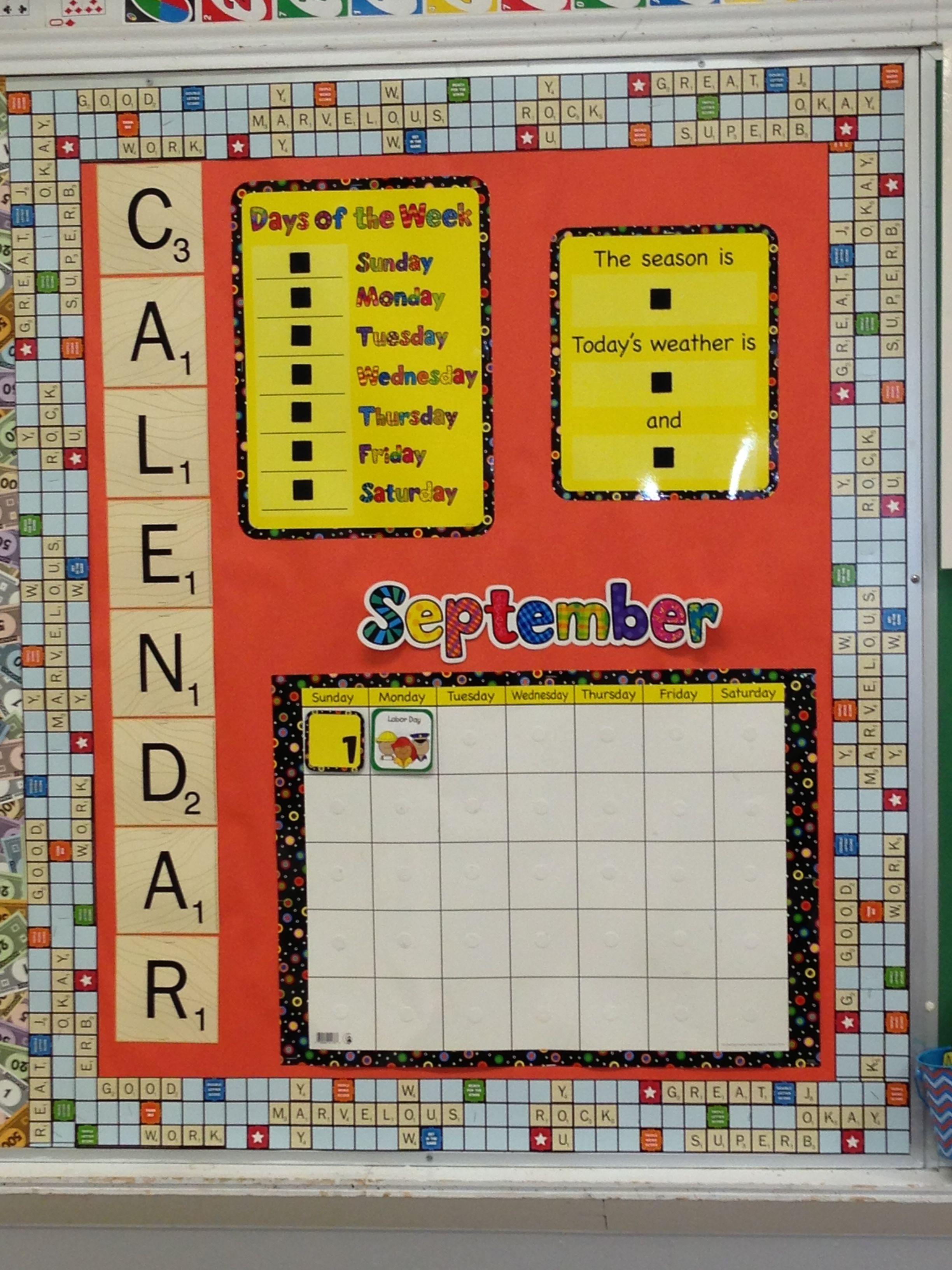 Classroom Calendar Sets : Scrabble theme calendar board using ctp s poppin patterns