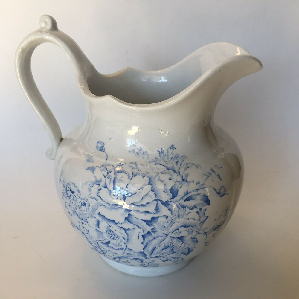 Antique Vintage Pitcher Maine K T K Blue White Knowles Taylor Knowles Knowlestaylorandknowles Blue And White Vintage Pitchers Pitcher Set