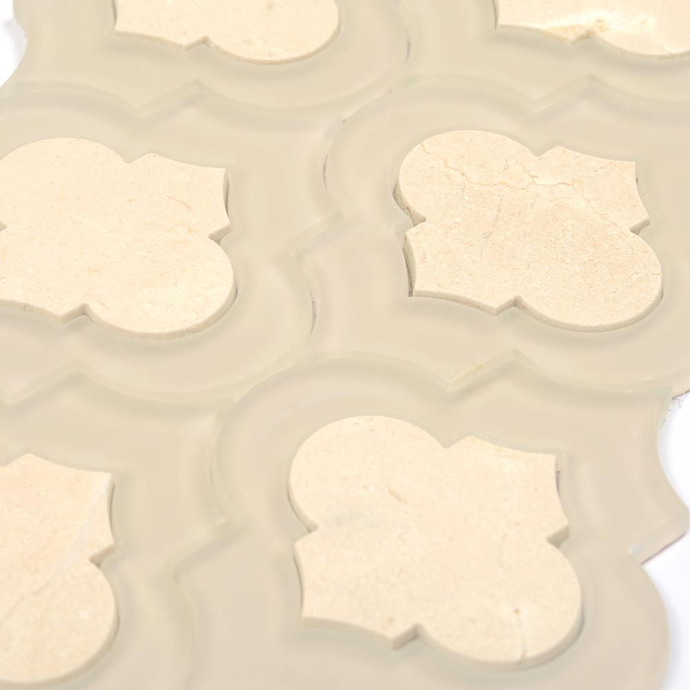 Crema marfil marble and glass mix arabesque tile mosaic tile crema marfil marble and glass mix arabesque tile mosaic dailygadgetfo Images