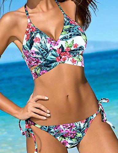 672001fde06 17.09  Mujer Floral Floral Boho Azul Piscina Bikini Bañadores ...