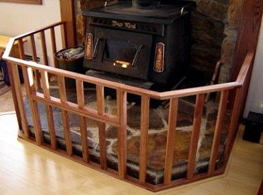 Contemporary Lindam Dark Wood Safety Gate And Burning Stove