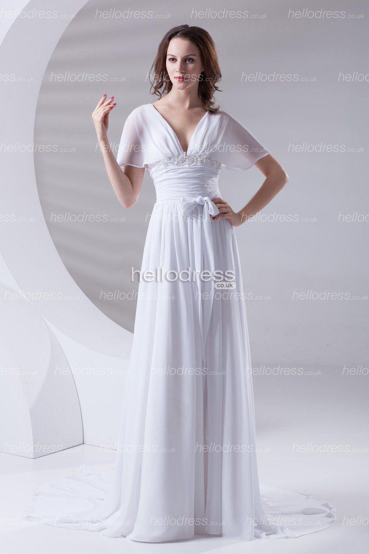 Short sleeves chiffon vneck empire waist long summer graceful