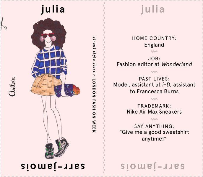 Julia Sarr-Jamois #lfw street style illustration.