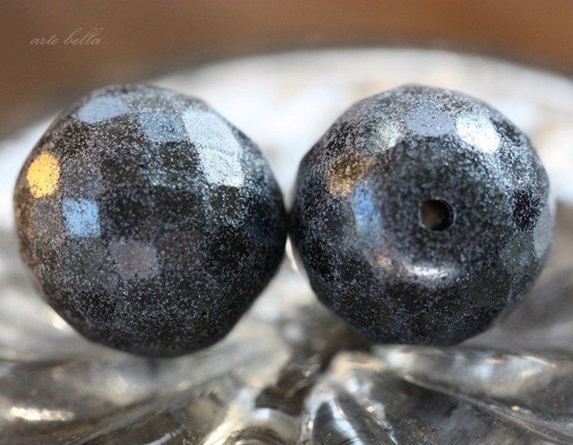sale .. STEEL FROST PLUMPS .. 2 Premium Czech Faceted Glass Beads 18mm (3011-2) by ArteBellaSurplus on Etsy https://www.etsy.com/listing/171957955/sale-steel-frost-plumps-2-premium-czech
