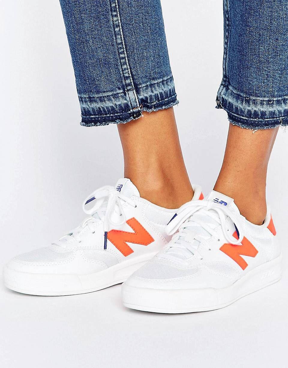 New Balance - 300 Court - Baskets - Blanc et orange fluo | ASOS ...
