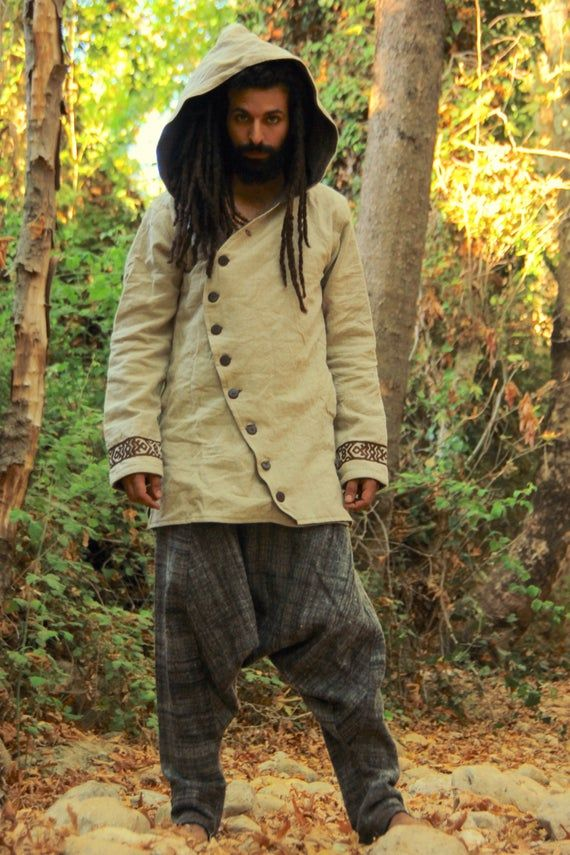Men jacket with hoodie ~ tribal embroidery pattern