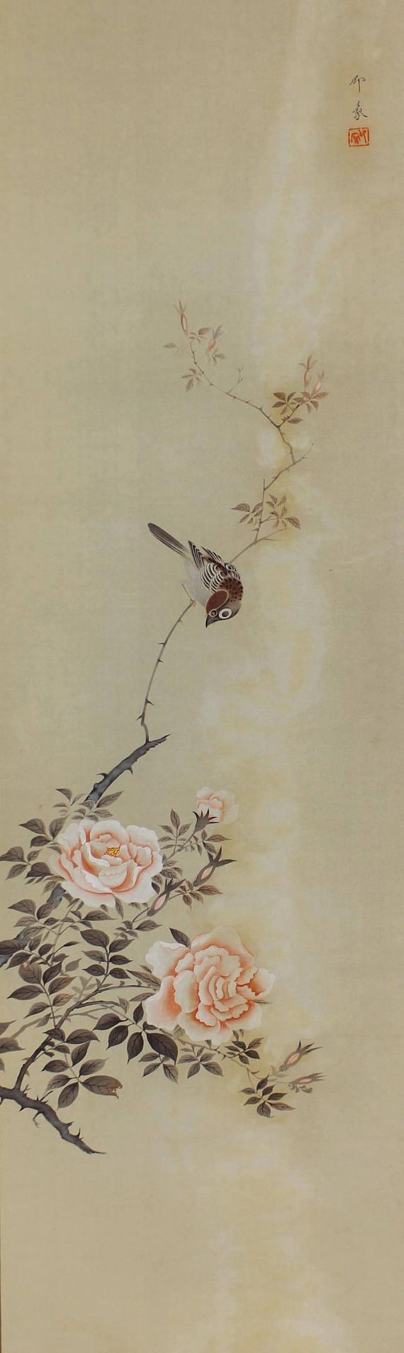 Sparrow on Rose. Bird and Flower Hanging scroll painting,Japanese Art Kakejiku
