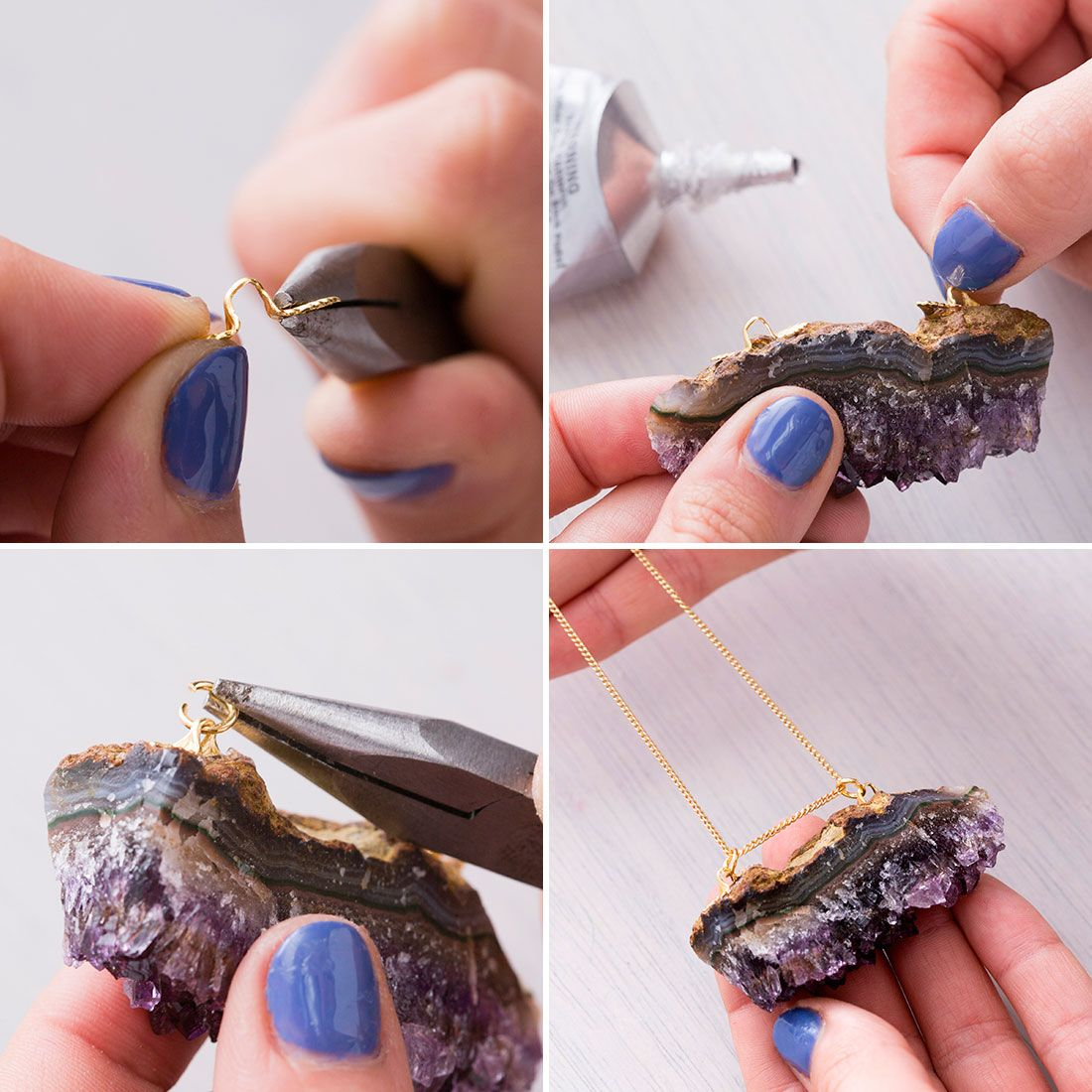 3 Ways To Turn Any Precious Gem Into A Necklace Stone Necklace Diy Diy Necklace Raw Quartz Necklace