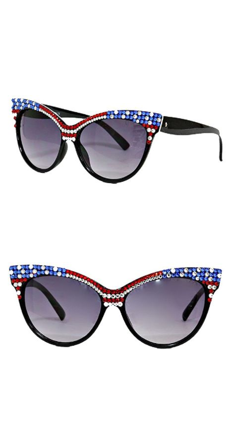 49315cb4d4aff 4th of July Fashion -Crystal American Flag July 4th USA Independence Day  Cat Eye Sunglasses  32.50