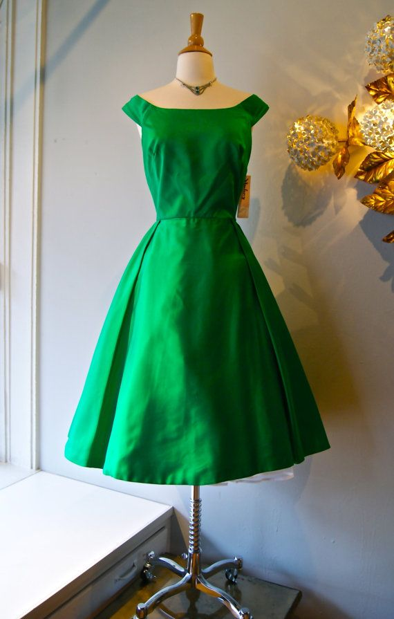 d9b1ac50cea1a 50s Party Dress    Vintage 1950s Emerald Green Silk Satin Fit and Flare  Dress by Gamine Size S on Etsy
