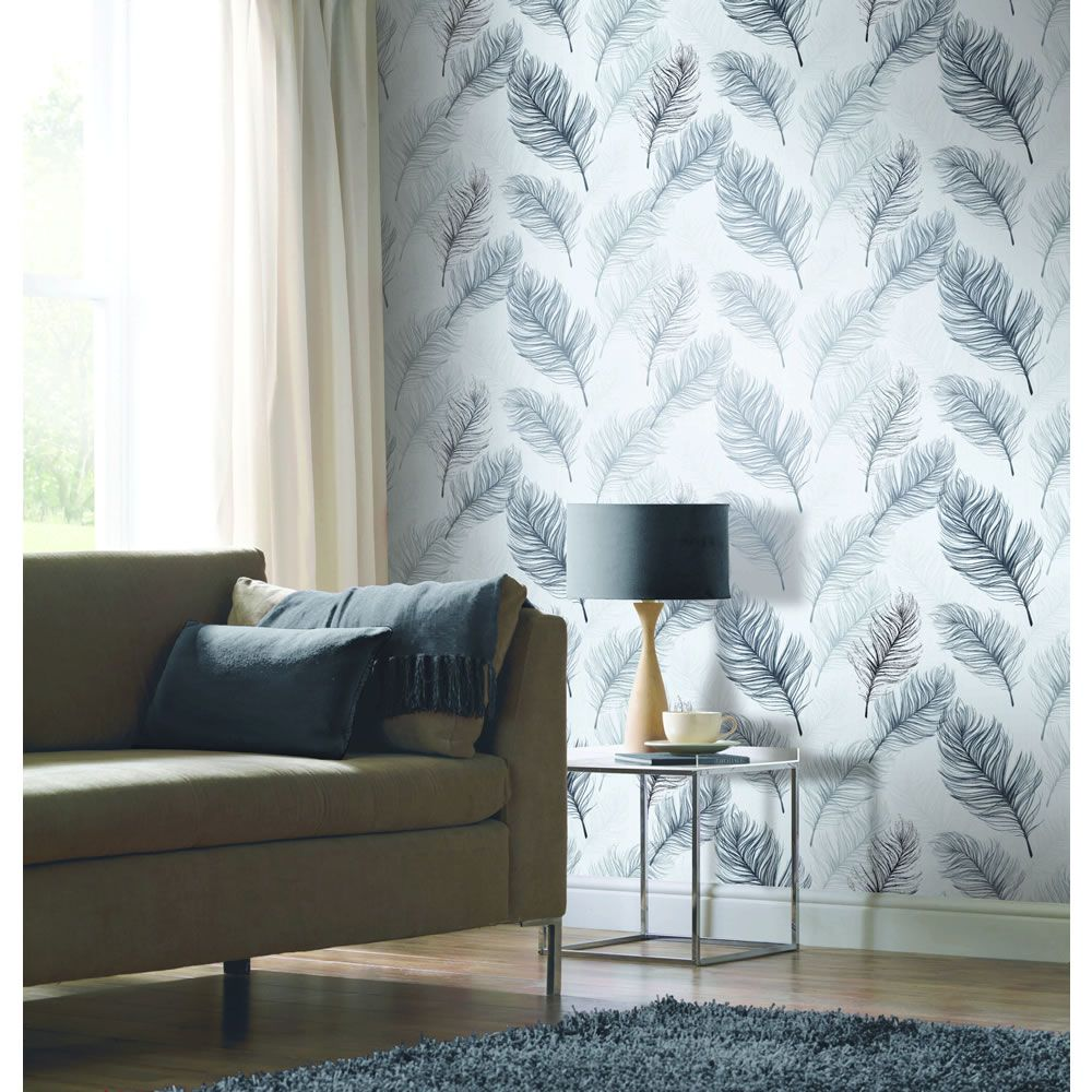 Arthouse Whisper Black and White Wallpaper White