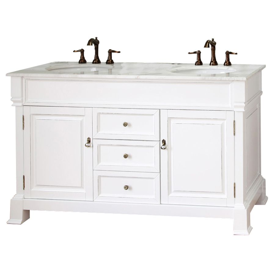 Shop Bellaterra Home Bellaterra 60In X 225In White Rub Edge 2 Unique Bathroom Vanities At Lowes Decorating Inspiration