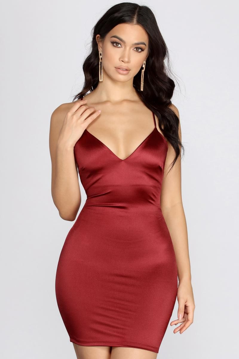 Fuego Satin Mini Dress In 2020 Satin Mini Dress Mini Dress Red Satin Dress