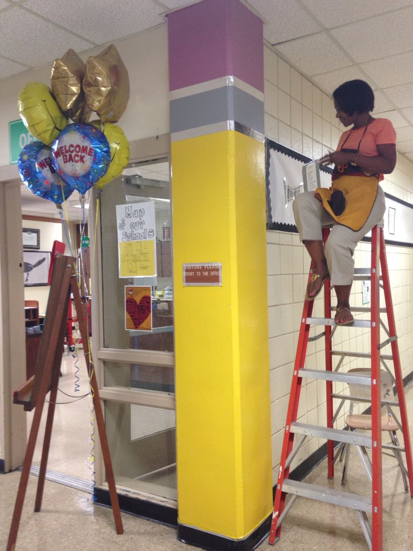 Pencil painted columns in the hallway of an elementary school | DIY ...