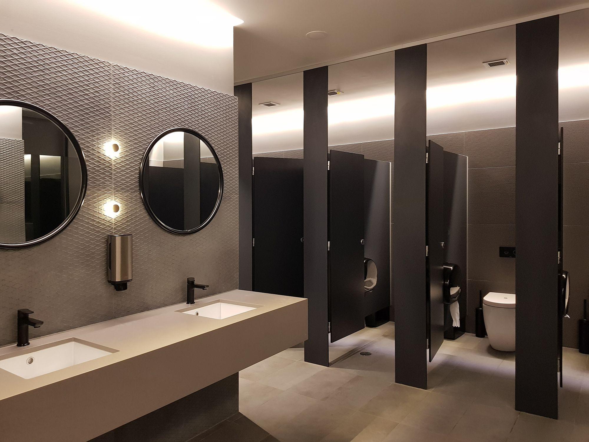 Aqualoo Windsor Compact Laminate Toilet Cubicles Restroom Design Washroom Design Toilet Design