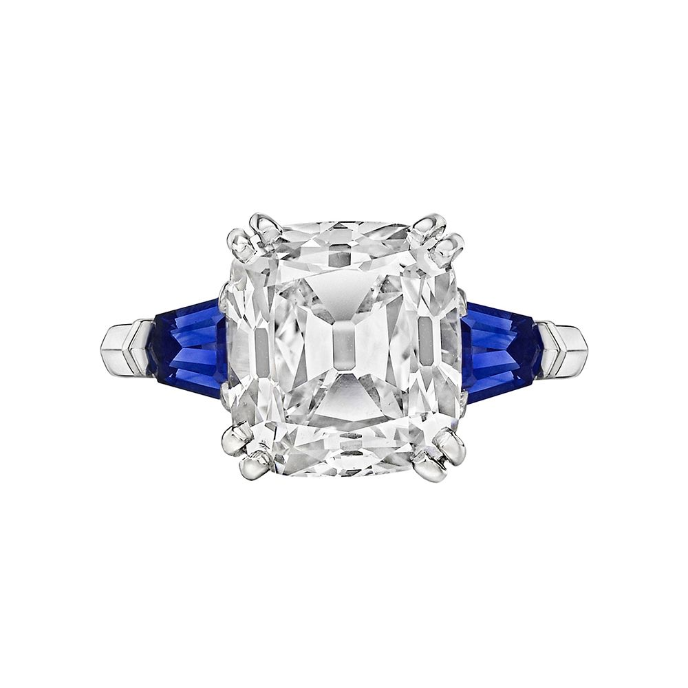 Betteridge 5.02 Carat Cushion Old Mine-Cut Diamond Ring