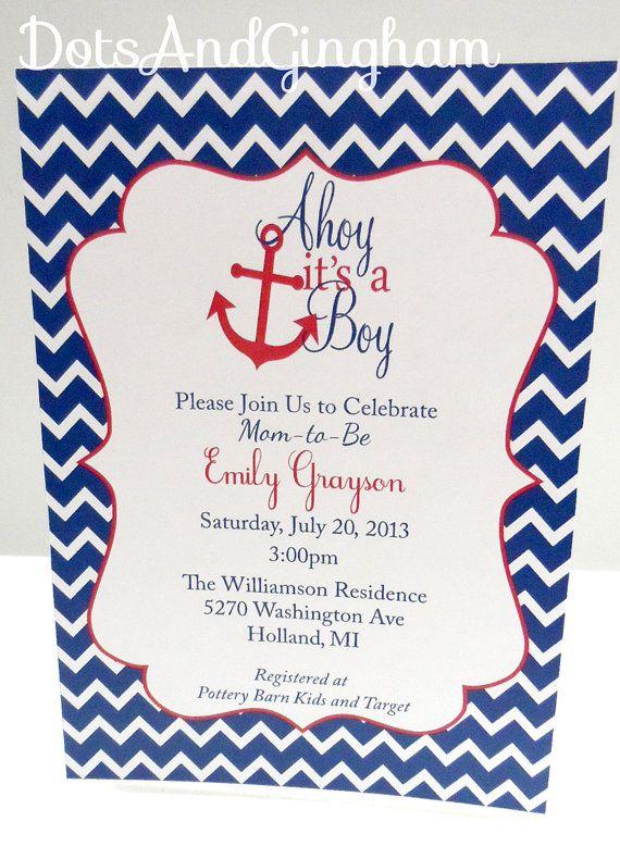 Attractive Ahoy Itu0027s A Boy Invitation Chevron Ahoy Its A Boy Baby Shower Invitation Printable  Nautical Invitation Anchor Invite Ahoy Invite