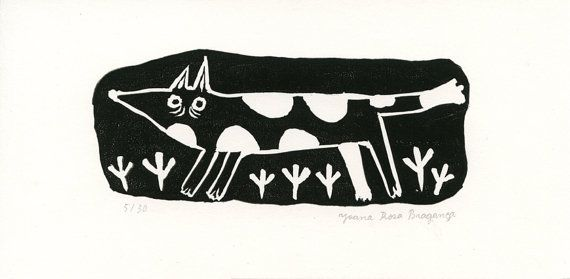 Linocut  A Dog in the Fields //  small manual print by Joana Rosa Bragança on Etsy
