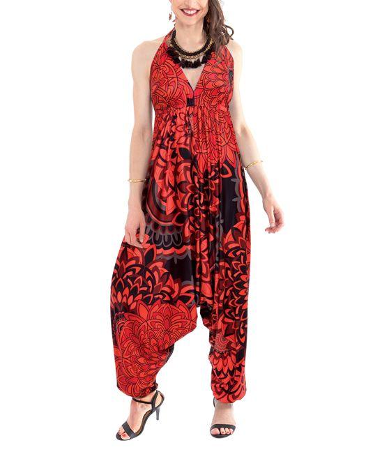 Red & Black Floral Jumpsuit