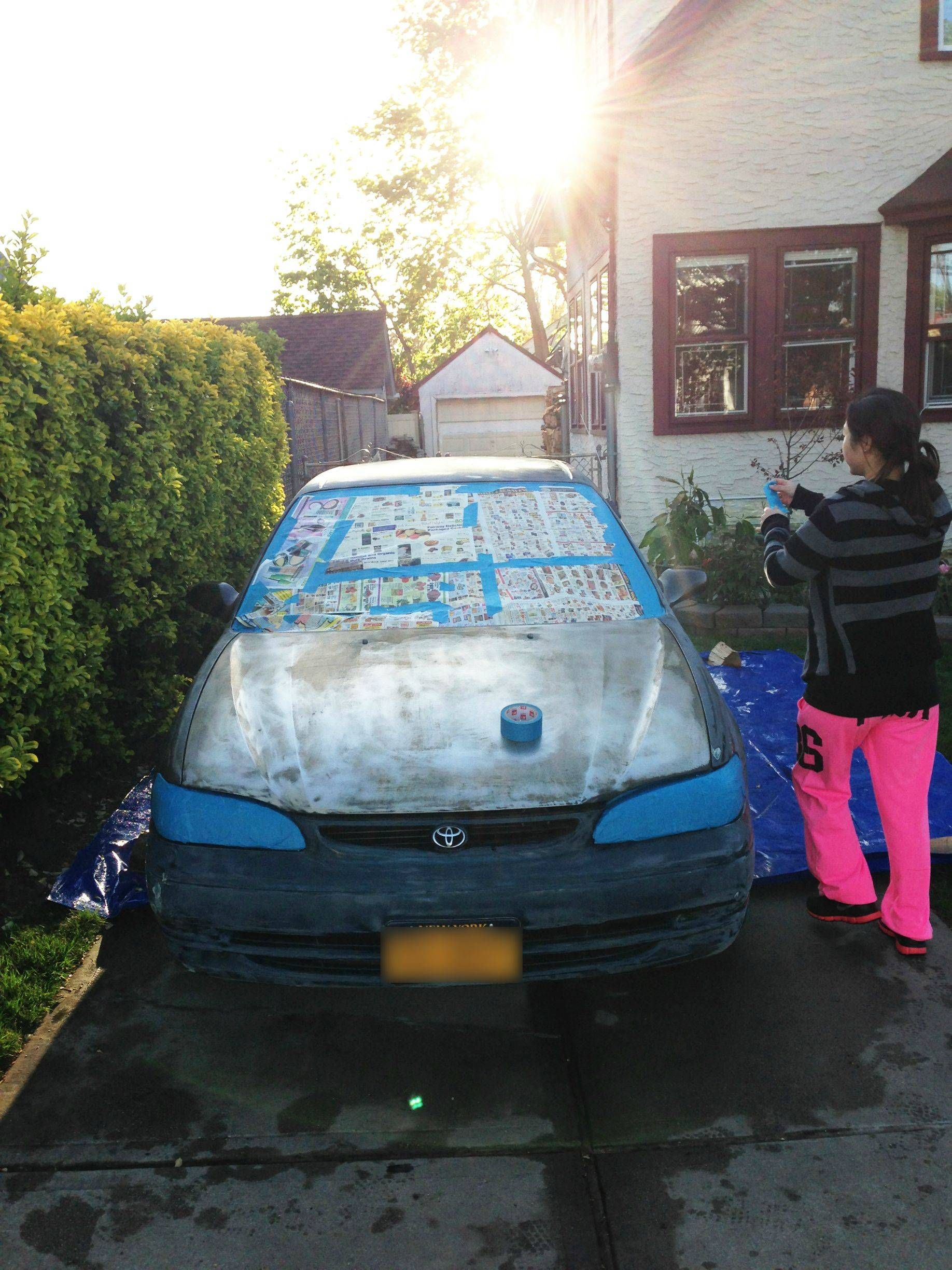 Girlfriend and i painted her car for under 100 cars diy car and diy ideas rolled on paint job solutioingenieria Gallery