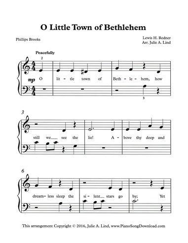 O Little Town of Bethlehem, Christmas PDF printable sheet