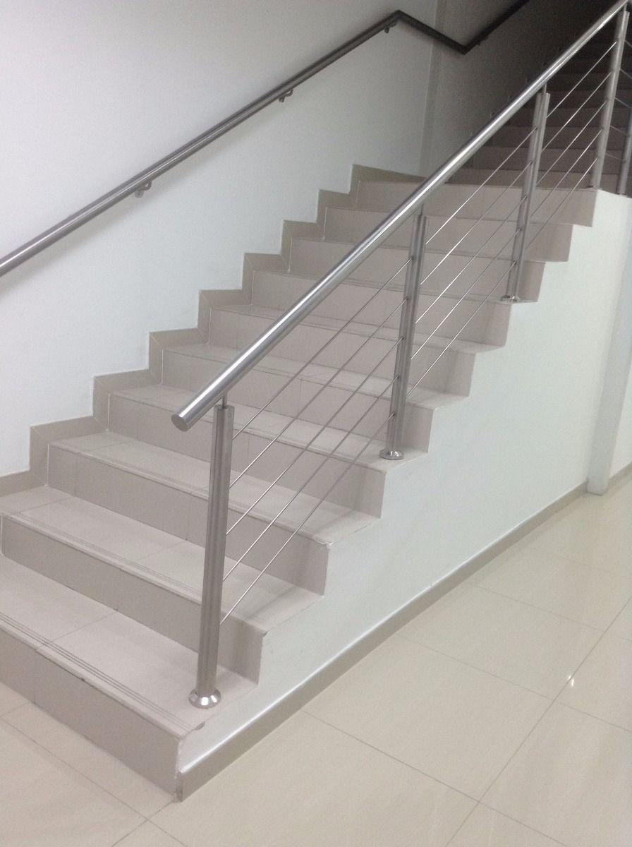 Baranda con tensores de acero para escaleras buscar con google lol pinterest pasamanos - Barandas de madera para escaleras ...