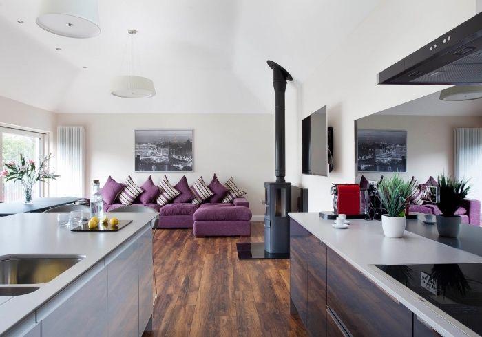 amenagement petite cuisine ouverte parquet marron deux ilots de cuisine chemine noire - Amenager Petit Salon Avec Cuisine Ouverte