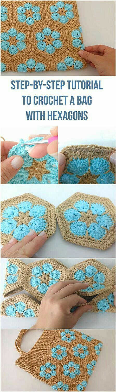 Pin von Margarita Corchado auf Hexagon Crochet Blanket sh | Pinterest