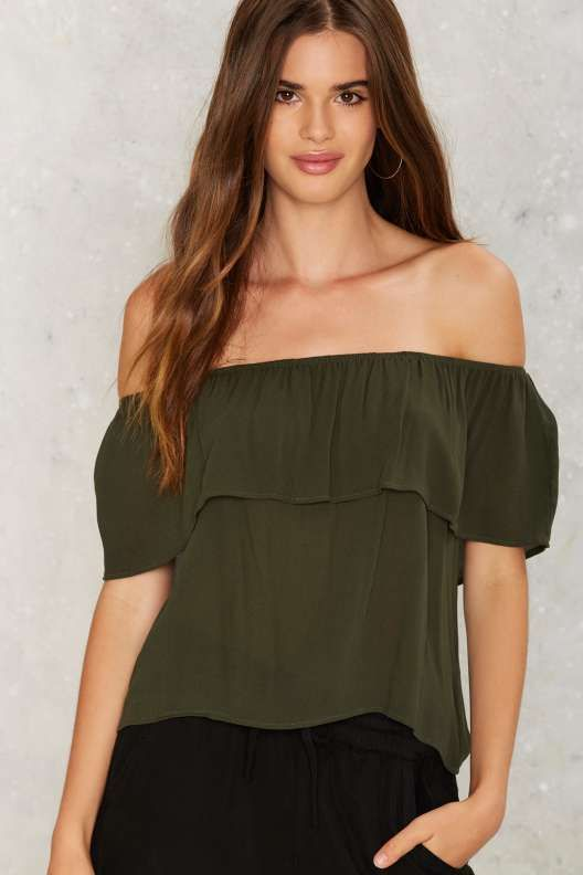 cdaf7680c428c Ruffle Blouse · Montage Off-the-Shoulder Top - Olive Green Crop Top
