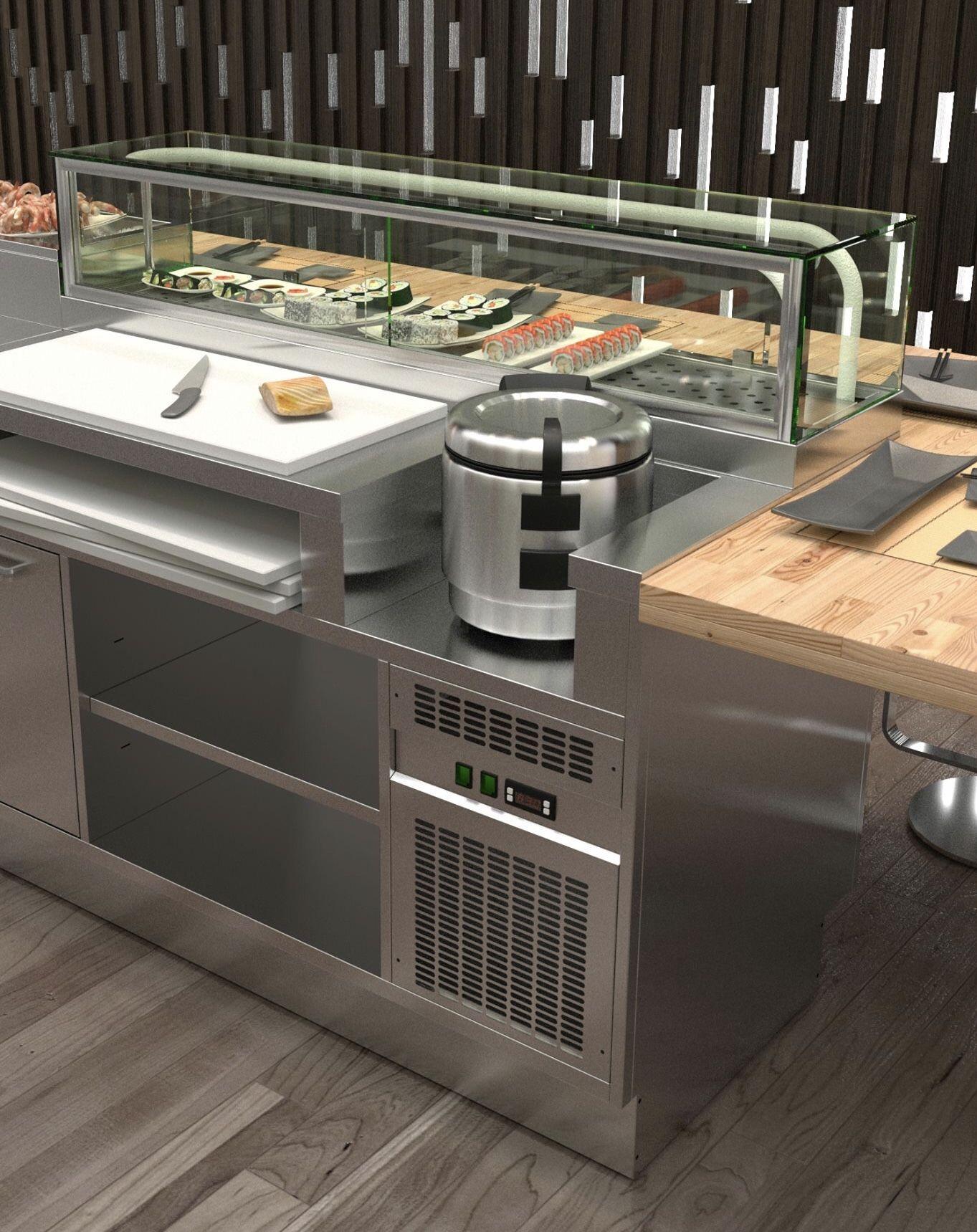 Refrigerated Sushi Station Work Bench Restaurant Kitchen Design Kitchen Counter Design Commercial Kitchen Design