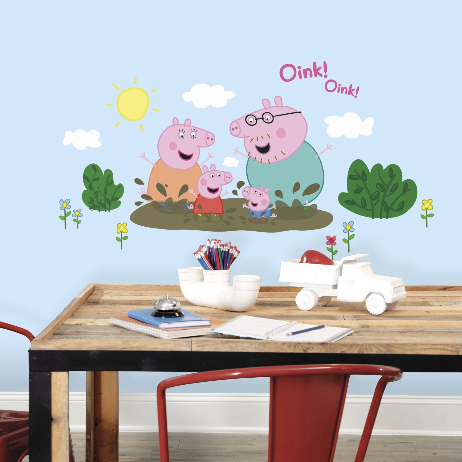 Roommates peppa pig family muddy puddles giant peel and stick wall roommates peppa pig family muddy puddles giant peel and stick wall decals amipublicfo Images