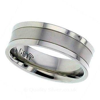 Geti Concave Grooved Titanium Ring