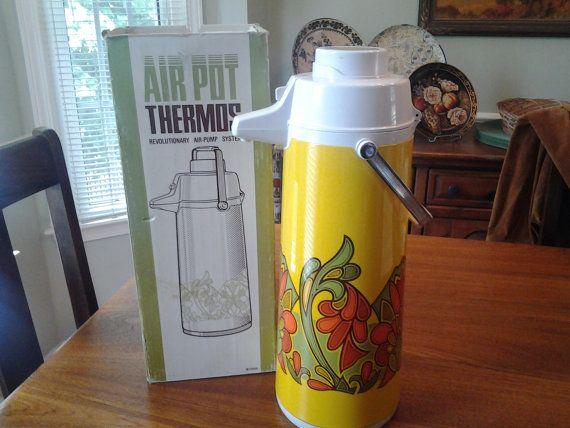 1960 S Air Pot Thermos 75 Oz Swivel Base Vacuum Pump Thermos