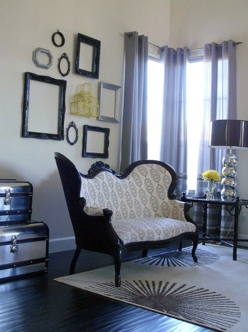 victorian settee. Love the victorian mixed with modern ...
