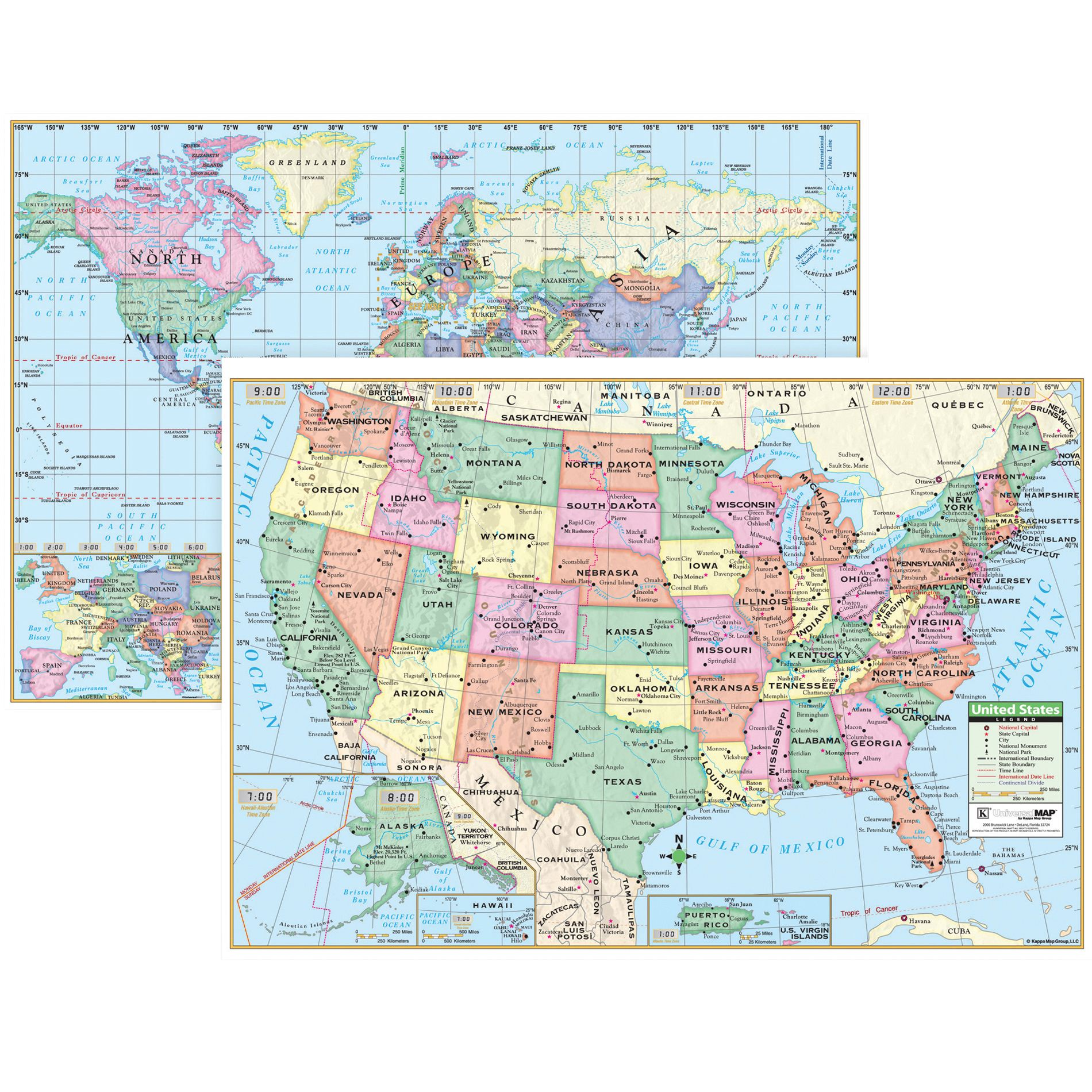 Kappa Map Group U.S. & World Wall Map Combo, Set of 3 ...