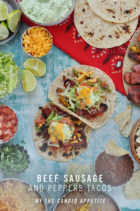 Beef Sausage and Peppers Tacos w/ Avocado Cream #beefsausage