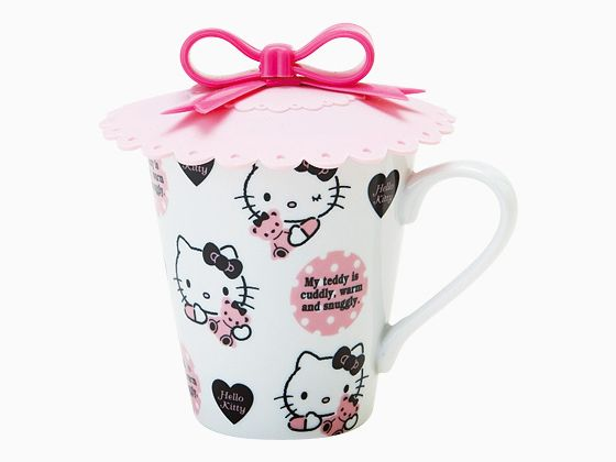 Hello Kitty Mug Cup with Silicon Lid Teddy SANRIO JAPAN