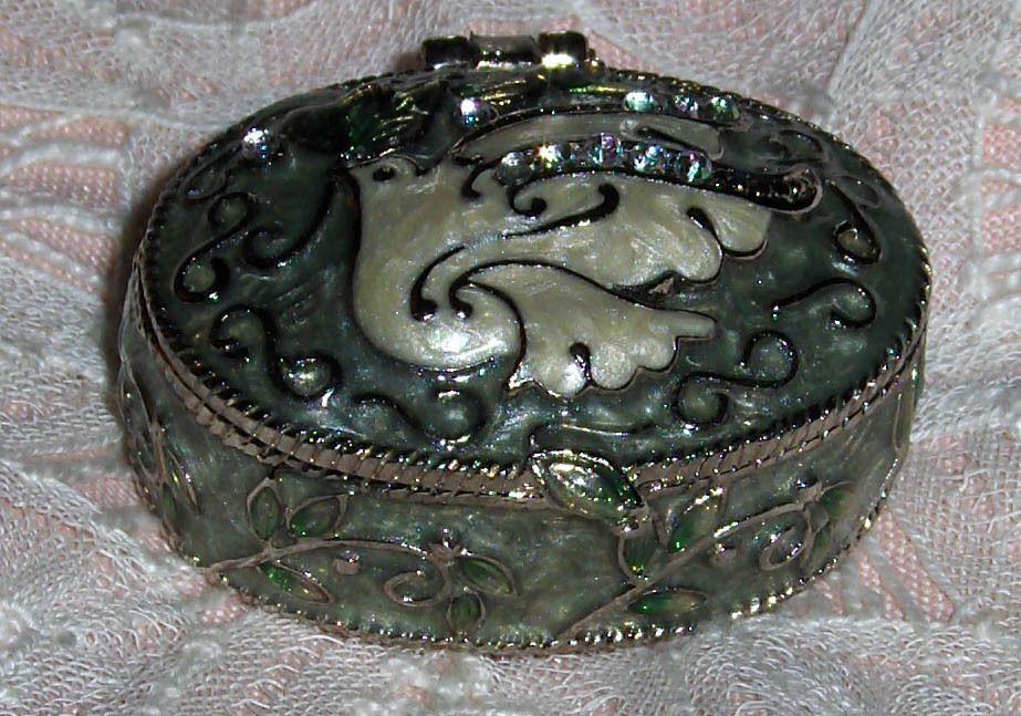 Vtg Monet White Bird Enamel Dove Metal Trinket Box Jewel Hinged