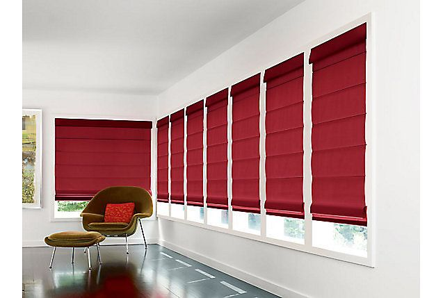 Cherry Red Roman Window Shades Spice Up This Sun Room