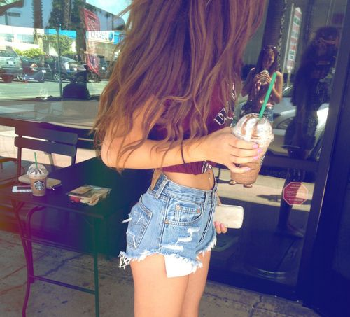 Untitled | We Heart It - ripped jeans - denim short - high waisted ...