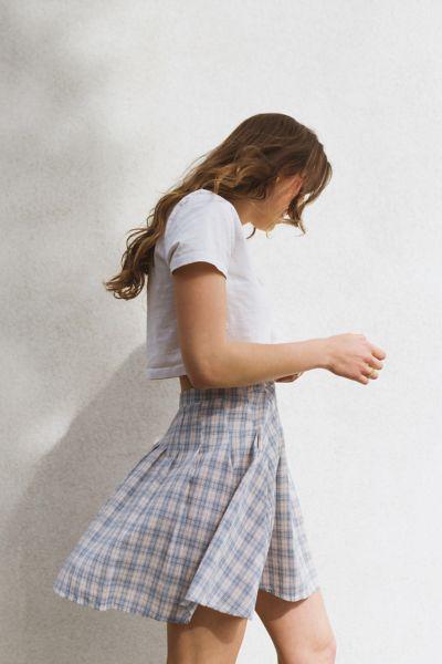 Daisy Street Plaid Pleated Mini Skirt