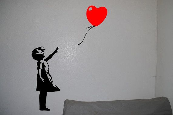 3ft Banksy Girl with Red Balloon Street Arts Mural by OneDesignArt