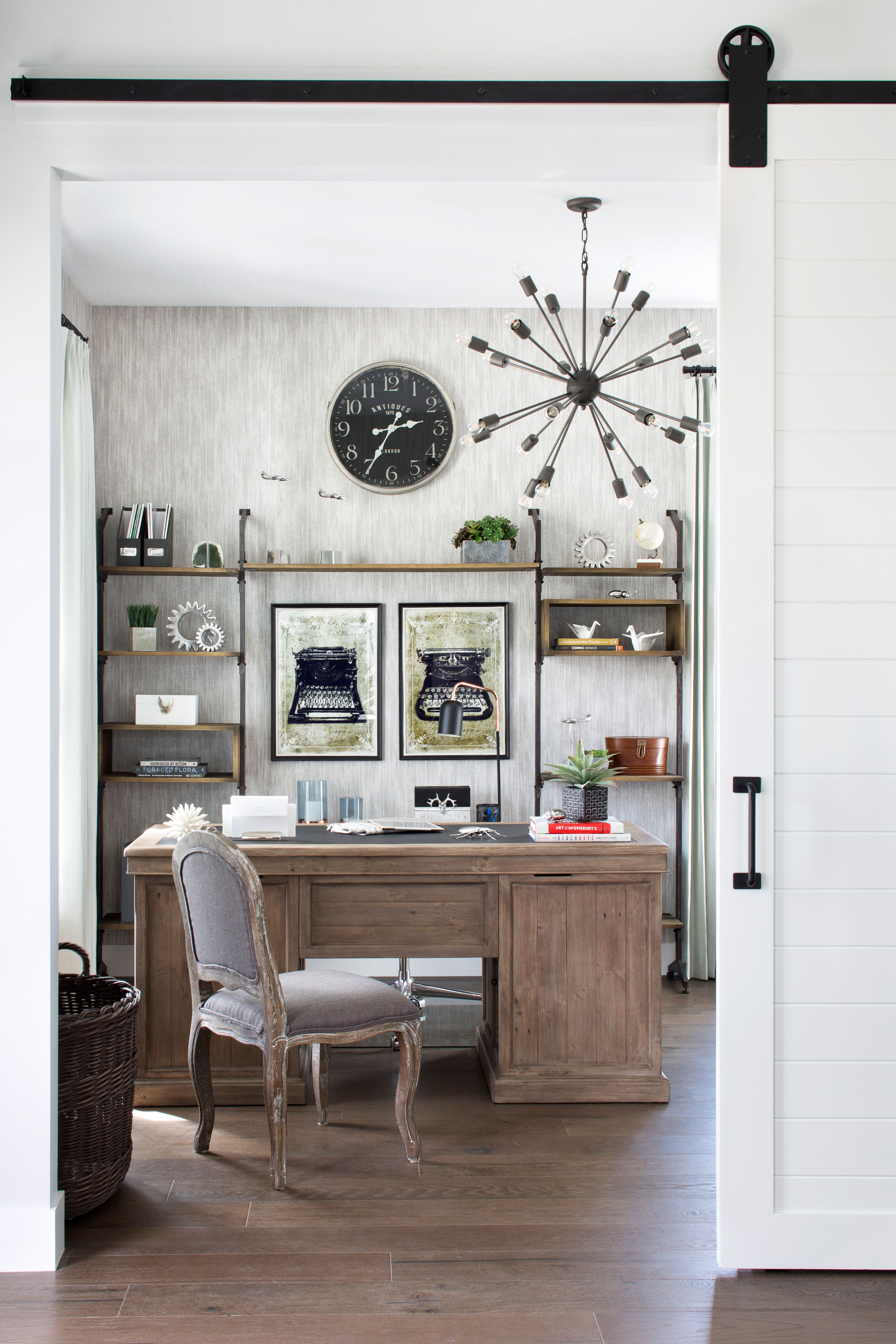 A Neutral Office Design With Modern Accents And Wooden Elements
