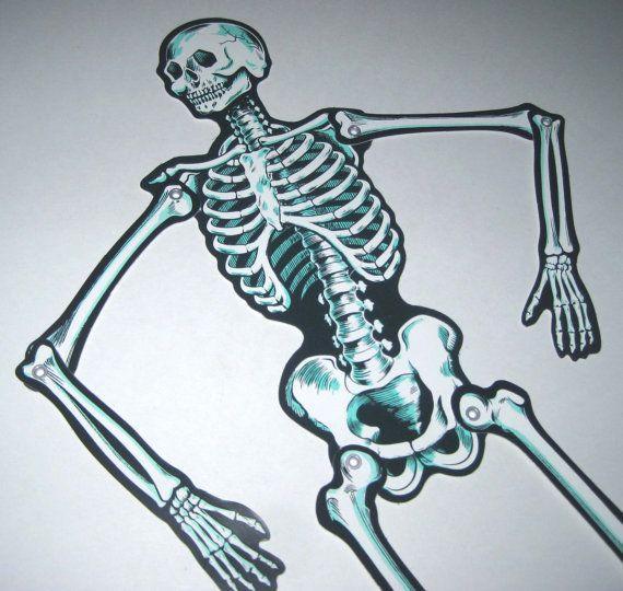 Vintage Halloween Cardboard Skeleton Decoration By Beistle